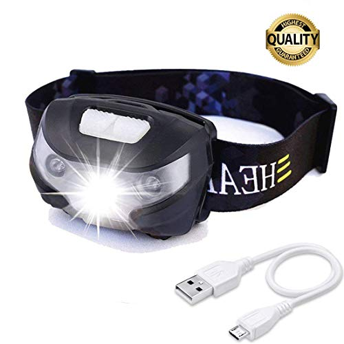 HFAN USB Rechargeable LED Headlamp, Head Lamp 1X White, 2X Red Super Bright, Waterproof, Lightweight Headlamps with SOS for Running, Walking, Camping, Reading, Hiking, Outdoor Sports etc (Black)