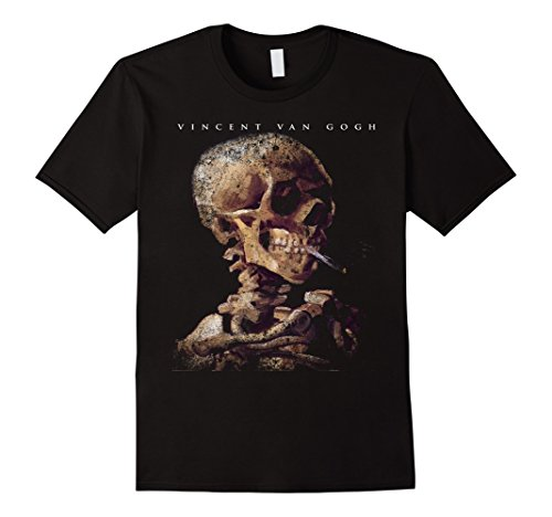 Men's Skull With A Burning Cigarette by Vincent Van Gogh T-Shirt 2XL...