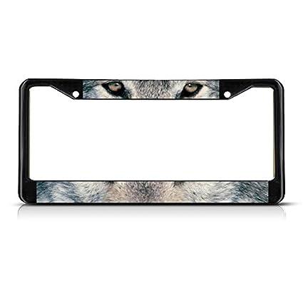 Amazon.com: Wolf Animal Eyes METAL Black License Plate Frame Tag ...