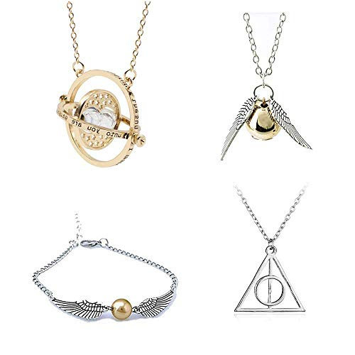 (Harry Potter Inspired Necklace Set -Time Turner Deathly Hallows Golden Snitch Link Bracelets for Harry Potter Fans Gifts Collection Magical Cosplay Costume Jewelry)