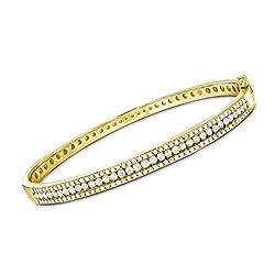 Diamond Bangle Bracelet in Gold Over Sterling