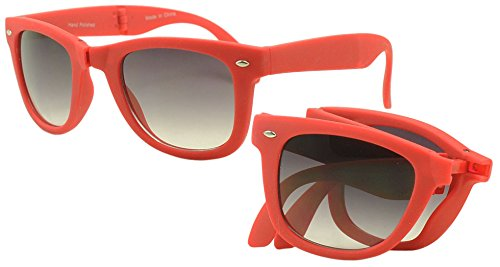 Round Classic Red Wayfarer Sunglasses Compact Folding Foldable Frame - Shipping Free Sunglasses Worldwide