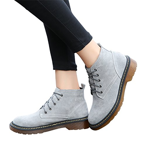 Leather Lady¡¯s Boots Smilun Block Ankle Boots Heel Classic Fashion Grey Debry Suede X7wS6