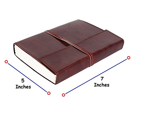 RUSTIC TOWN Handmade Vintage Antique Looking Genuine Leather Bound Journal Diary Notebook Travel book with blank Unlined pages to write for Men Women …