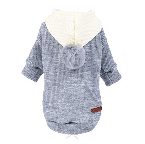 Hdwk&Hped Knitted Dog Sweater with Hood, Cute Pompon Small Dog Puppy Cat Clothes Grey L