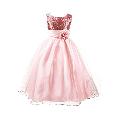 Pink Tulle Party Dress (Acecharming Girls' Sequin Satin Tulle Wedding Pageant Flower Girl Party)