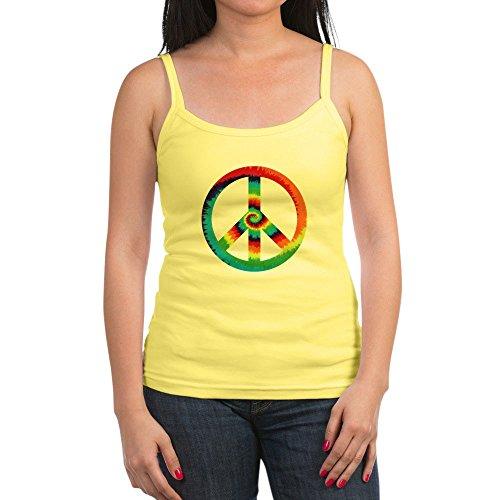 Royal Lion Jr. Spaghetti Tank Tye Dye Peace Symbol - Lemon, Medium