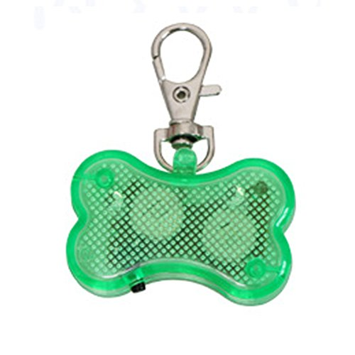 Braceus LED Light Up Dog Bone Shape ID Tag Pet Safety Collar Pendant for Outdoor Walking (Green) Tag Bone Shape Led