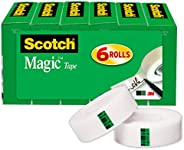 Scotch Magic Tape, 6 Rolls, Numerous Applications, Invisible, Engineered for Repairing, 3/4 x 1000 Inches, Box