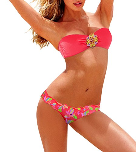 GILOLA Sexy Frauen Trägerlos Bandeau Bikini Push Up Split Badeanzug Größe M Rot