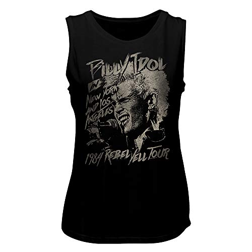 Billy Idol Musician Singer NY & LA 1984 Rebel Yell Tour Ladies Muscle Tank Top (Idol Ladies T-shirt)