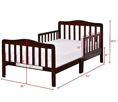 Wood Toddler Kids Baby Bed Safety Rails Espresso Bedroom Furniture + eBook by eXXtra Store (Image #3)