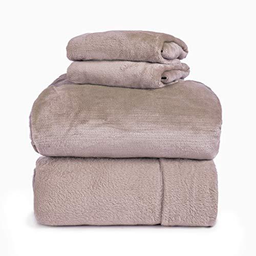 Spyder Insulated Warm Fleece Flannel Plush Sheet Set Pillow Case Flat & Fitted Sheet (New Blush, Full) ()