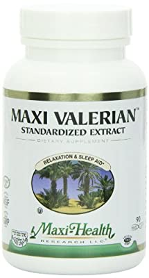 Maxi Health Valerian Root - Standardized Extract - Relaxation & Sleep Aid - 90 Capsules - Kosher