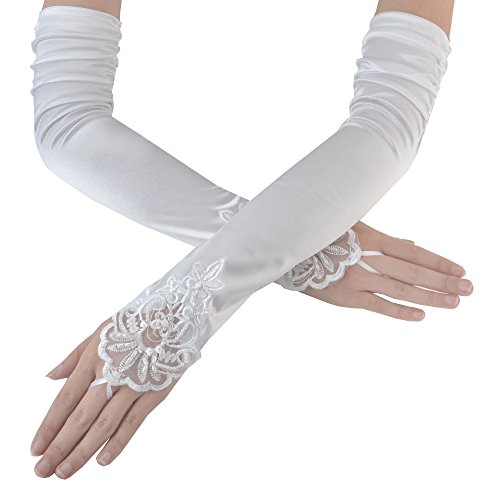 JISEN Women Fingerless Long Gathered and Beaded Fold Floral Embroidery Lace Sequins Satin Bridal Party Gloves 16.7