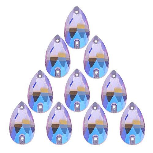 50Pcs Teardrop Sew on Rhinestones Crystal AB Glass Flatback Rhinestone for Crafts Clothing Wedding Dress Decoration,11X18mm AB Purple ()