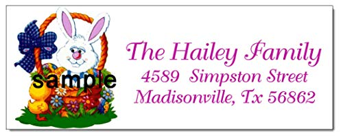 (tkniftylabel Easter Bunny Flowers #26 Laser Return Address Labels)