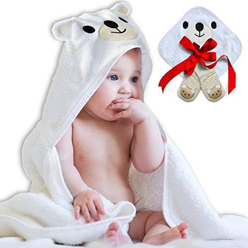 N.H.S. Baby Products All Cotton Polar Bear Bath Towel with Washcloth and - Bear Beach Teddy