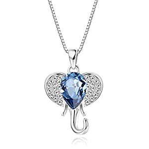 KesaPlan Crystal Elephant Necklace for Girls, Blue Crystal from Swarovski, Cute Necklace Elephant Gift for Girls