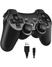 PS3 Controller, PomisGam Wireless Gamepad Compatible for Playstation 3 Bluetooth Double Shock Joystick with SIX AXIS ,Charge Cord