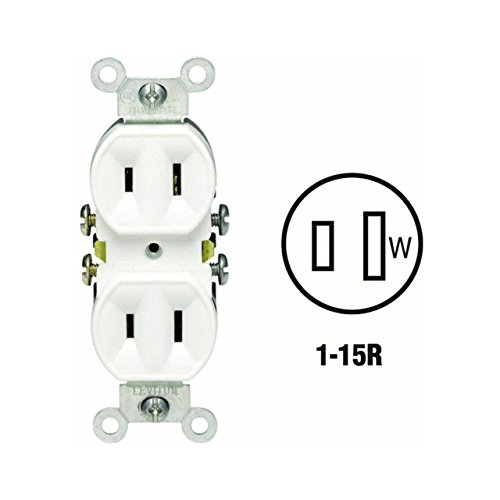 2 Prong Outlet (Leviton Duplex Non-Grounding Receptacle 15 Amp Wht Residential Bulk pack of 10)