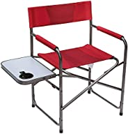 Portal Compact Steel Frame Folding Director's Chair Portable Camping Chair with Side Table, Supports 225