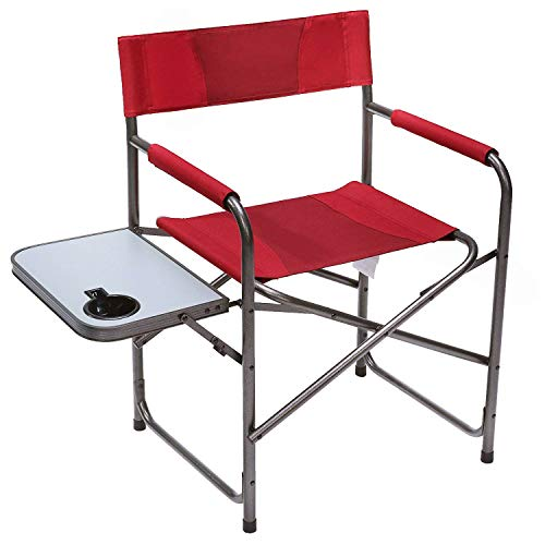 PORTAL Compact Steel Frame Folding Director s Chair Portable Camping Chair with Side Table, Supports 300 LBS