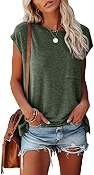 MIROL Women's Short Sleeve Tunic Tops Basic Loose T Shirts Solid Color Batwing Sleeve Casual Tee with Po