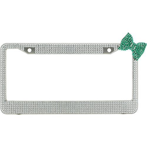 - Clear Crystal Diamond Rhinestone Chrome Metal License Plate Frame License Plate Frame With Green Crystal Bow Tie With Crystal Screw Caps
