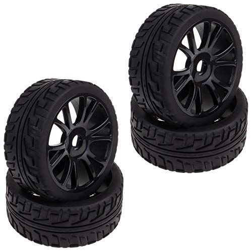 4pcs Black 1/8 Scale RC Off Road Car Buggy Racing Tires Tyre Rims Wheels for HSP HPI