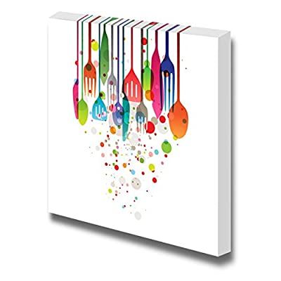 Beautiful Vector Illustration with Multicolored Utensils for All Kind of Food Related Designs Wood Framed - Canvas Art Wall Art - 16