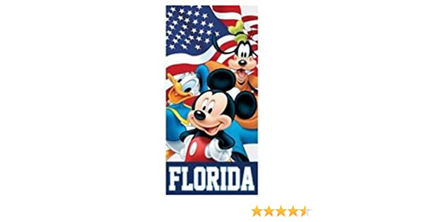 Flag Friends Mickey Goofy Donald Beach Towel 28 in X 58 in