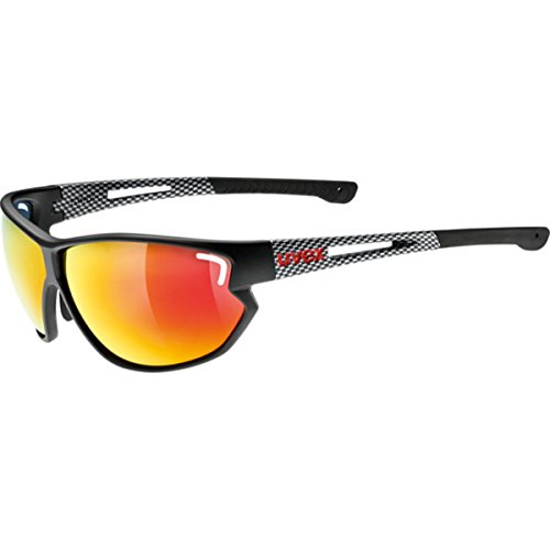 Uvex Sportstyle 810 Glasses - Black Matte Carbon Frame with Mirror Red Lens (Uvex Sportstyle)