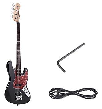 ammoon Madera Maciza 4 Cuerdas JB Guitarra Bass Eléctrica Cuerpo de Tilo Diapasón de Palo de Rosa 24 Trastes con Cable de 6,35 mm