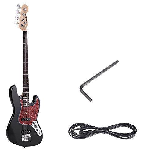 ammoon Solid Wood 4 String JB Electric Bass Guitar Basswood Body Rosewood Fretboard 24 Frets with 6.35 mm Cable