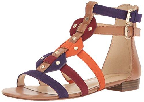 Nine West Women's Irvette Synthetic Gladiator Sandal, Dark Natural Multi, 9.5 M US 25025084