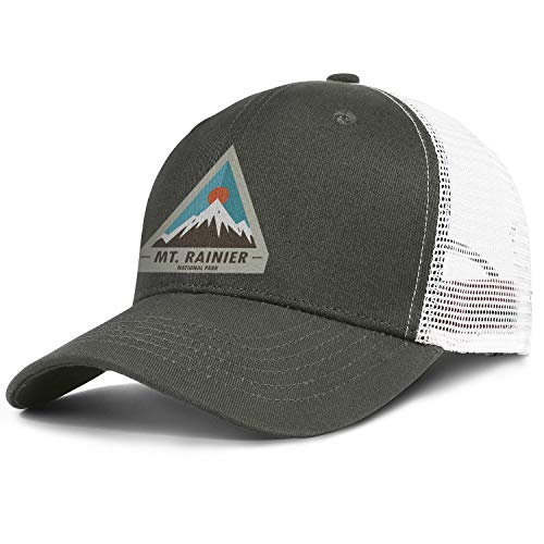 MT. Mount Rainier National Park Baseball Hat Retro Cotton Adjustable Mesh Trucker Cap Unisex