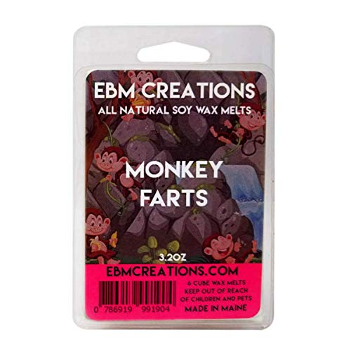 Monkey Farts - Scented All Natural Soy Wax Melts - 6 Cube Clamshell 3.2oz Highly Scented!