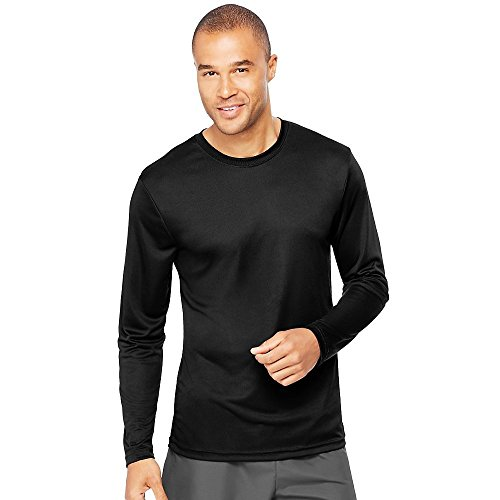 (Hanes Cool DRI'Performance mens Long-Sleeve T-Shirt,Black,X-Large)