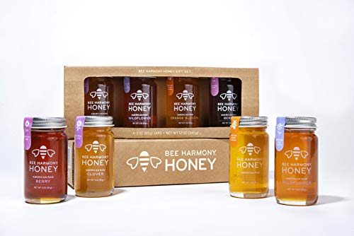 Bee Harmony Mini Honey Gift Set | Premium Raw Honey | Product of U.S.A. | Kosher for ()