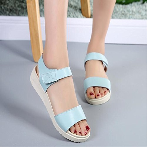 Sandalias Planas De Verano Femenino Sandalias Suave Antideslizante Luz azul