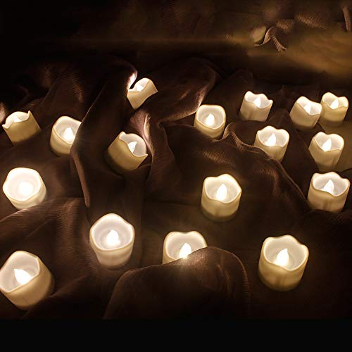 Topstone Remote Control Led Tea Lights with Warm White Flickering Bulb ,12 Pack Timing Electric Candles ,Long Lasting CR2450 Battery Powered Candles, for Festival Decoration and Wedding