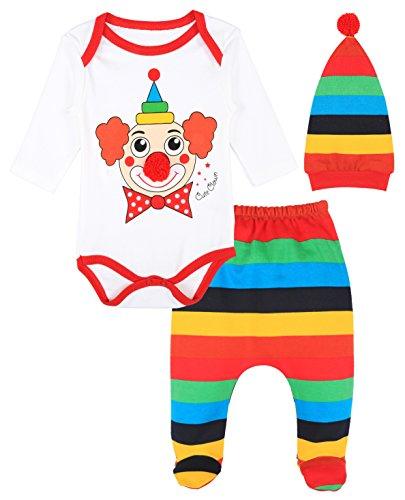 Lilax Baby Girl Fun Unique Soft Cotton Bodysuit, Cap, and Pant Layette 3 Piece Gift Set 6M Clown (Clown Outfit For Kids)