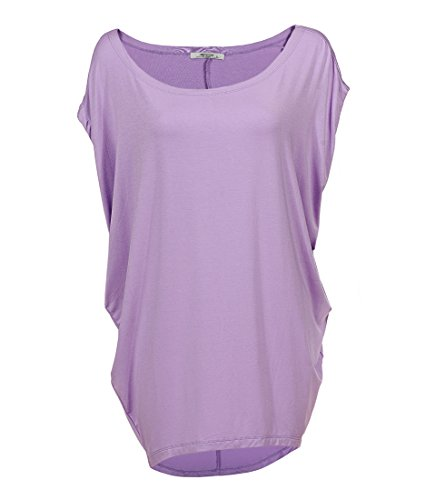 GLOSTORY Women's Plus Size Knitted T Shirt Tops Short Sleeve Off Shoulder Batwing Blouse 1667 (S,Lt Purple)