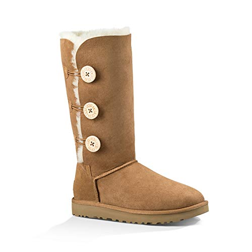 UGG Women's Bailey Button Triplet II Winter Boot, Chestnut, 9 B US