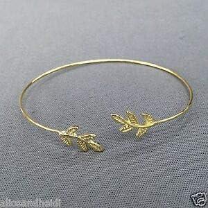 Gold Finish Leaf Design Simple Open Bohemian Style Inspired Bangle Bracelet Fashion Jewelry for Women Man