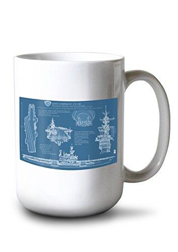 Lantern Press San Diego, California - USS Midway Blue Print (15oz White Ceramic Mug)