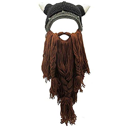 Creative Original Barbarian Knit Hair Beard Hat and Roman Knight Helmet Visor Cosplay Knit Beanie Hat (V-Brown) ()