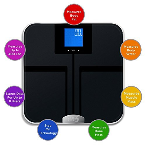 EatSmart Precision GetFit Digital Body Fat Scale w/ 400 lb. Capacity & Auto Recognition Technology: Amazon.es: Salud y cuidado personal