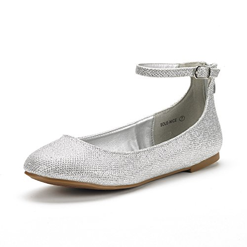 Dream Pairs Women's Sole-Nice Silver Glitter Ankle Strap Walking Flats Shoes - 7 M US